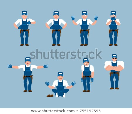 Plumber set poses and motion. Fitter happy and yoga. Serviceman  Stock photo © popaukropa