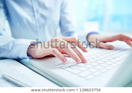 Hand Touching Data Management Keypad. Stock photo © tashatuvango