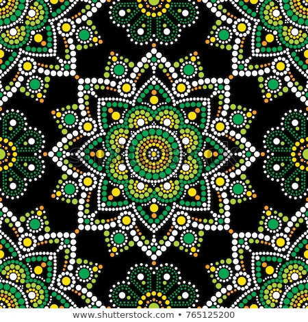 Stock photo: Aboriginal dot painting seamless pattern, bohemian Mandala vector dot art, retro folk design inspire