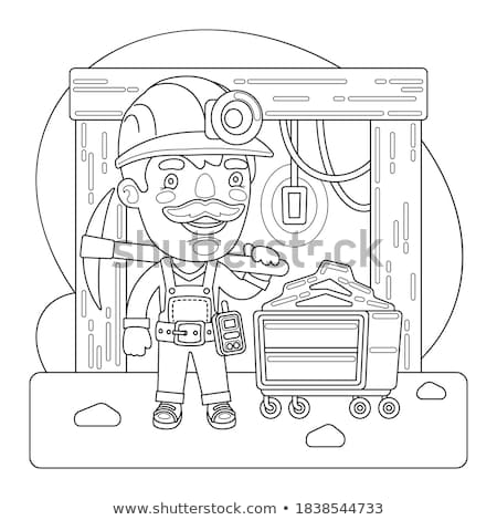 Miner with pickaxe. workman vector illustration. laborer mining Stock photo © popaukropa