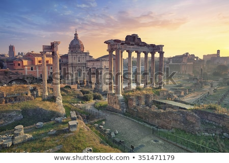 roman forum in rome italy during sunrise stock photo © vwalakte