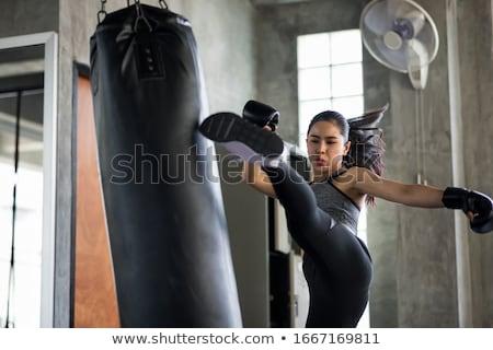 Lány box homokzsák illusztráció nő egészség Stock fotó © lenm