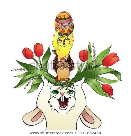 вертикальный · вектора · Cartoon · Пасху · Bunny - Сток-фото © heliburcka