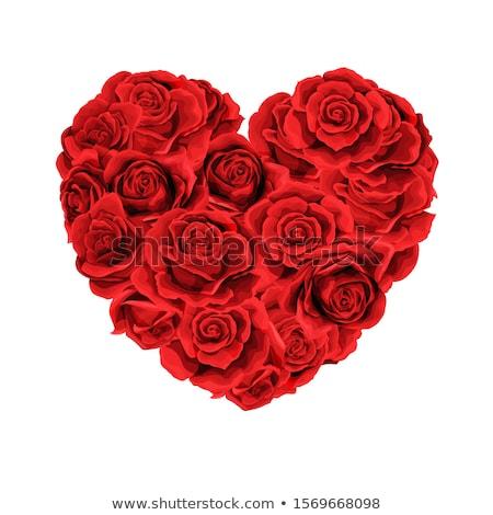 Kalpler buket çiçekler yaprakları şerit pembe Stok fotoğraf © marinz