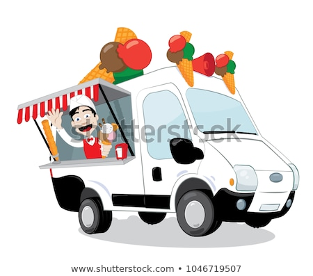 funny ice-cream van parked and friendly ice-cream man serving a cone Stock photo © pcanzo