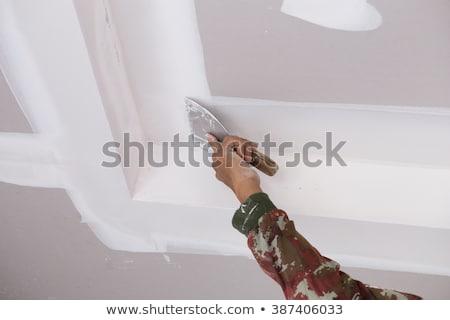 Foto stock: Trabalhador · teto · luvas · trabalhar · casa · quarto