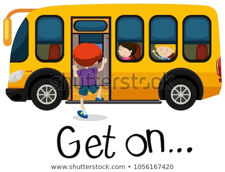 Wordcard for get on with boy getting on schoolbus Stock photo © bluering