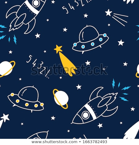 space cartoon seamless pattern vector background astronaut and stock photo © popaukropa