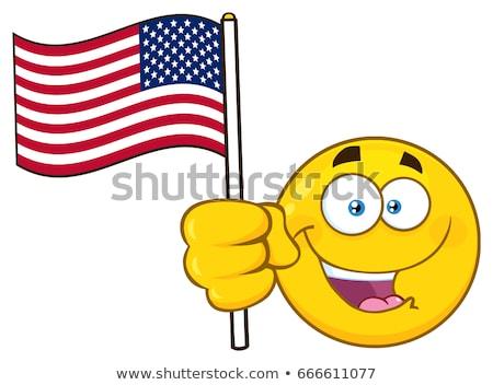 Patriotyczny żółty cartoon twarz charakter Zdjęcia stock © hittoon
