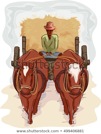 Uomo agricoltore tradizionale cart fieno illustrazione Foto d'archivio © lenm