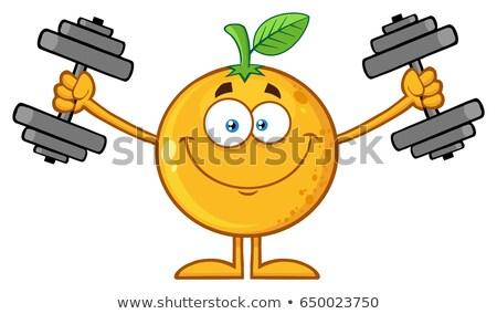 Uśmiechnięty pomarańczy maskotka cartoon charakter hantle Zdjęcia stock © hittoon