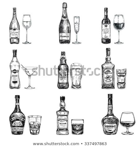 прозрачный · шампанского · стекла · белое · вино · ретро - Сток-фото © rastudio