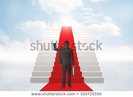 adam · kırmızı · halı · merdiven · 3D · render · örnek - stok fotoğraf © elnur