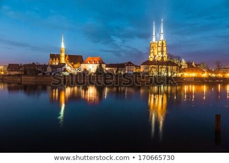 Schemering Polen stad skyline rivier Stockfoto © rognar