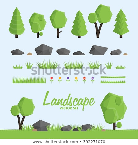 low poly colorful trees flat vector set stock photo © robuart