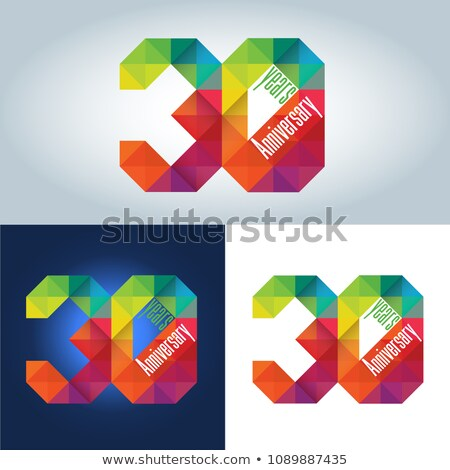 30th Anniversary colourful geometric triangular icon Stock photo © amanmana