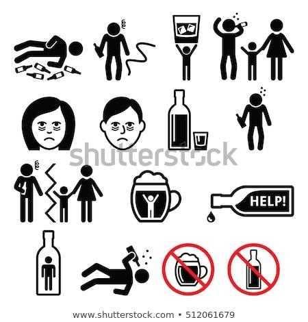 Dronken man vloer vader fles Stockfoto © popaukropa