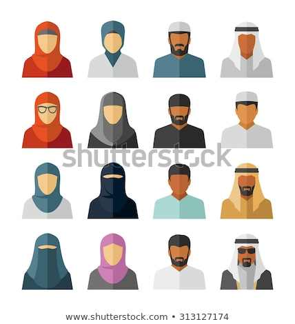 Vektor közel-keleti arab emberek ikonok szimbólum Stock fotó © NikoDzhi