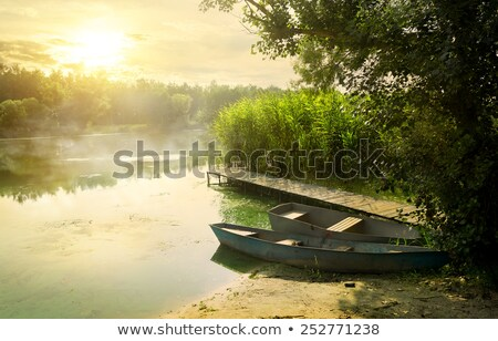 Sunset With Boat Near The Summer Lake Shore Stok fotoğraf © givaga