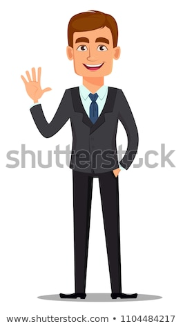 Waving Cartoon Businessman Stock photo © cthoman