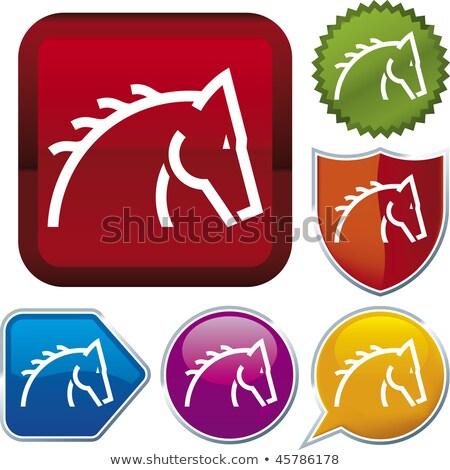 Azul caballo cabeza icono vector Foto stock © cidepix