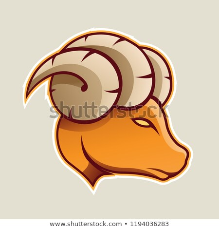 orange aries or ram icon front view vector illustration stock photo © cidepix