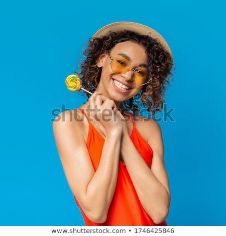 молодые афро американский женщину купальник расслабляющая Сток-фото © deandrobot