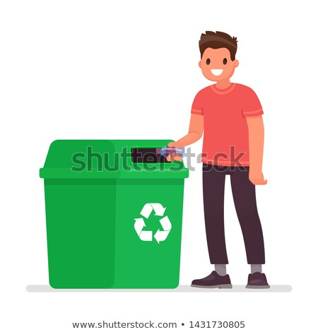 Young Man Throwing Trash Into Garbage Can Illustration Stock photo © artisticco