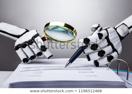 Robot fattura foto lente di ingrandimento carta Foto d'archivio © AndreyPopov