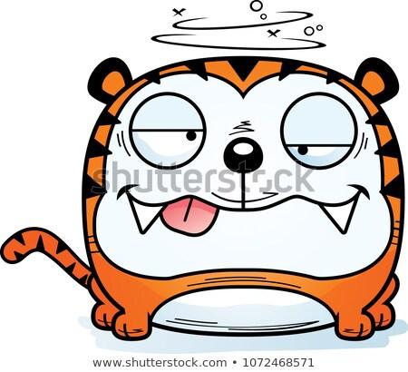 пьяный Cartoon тигр иллюстрация глядя животного Сток-фото © cthoman