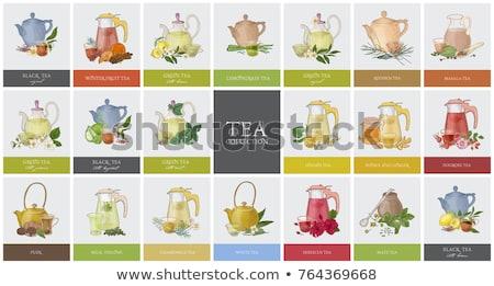 Különböző tea teáskanna kanalak fekete zöld Stock fotó © karandaev