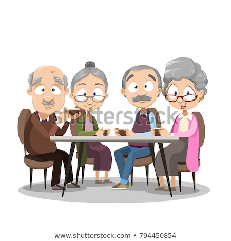 Happy Elderly Couple In Cafe At A Table Drinking Coffee Together Vector. Isolated Illustration Stock photo © pikepicture