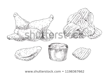 Chips Monochrome Sketch, Vector Illustration Stock photo © robuart