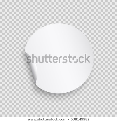 Stock photo: Blank round stickers with curled corners on transparent background, realistic mockup