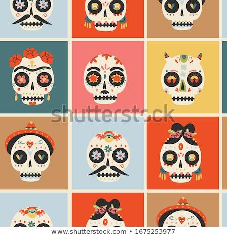 Skull of flowers. Head of skeleton and flower Stock photo © popaukropa