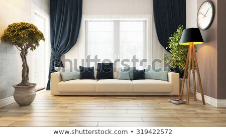 Beautiful modern living room decor with wooden door and grey curtain background Stock photo © ruslanshramko