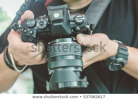 Professionali fotografo azione paparazzi teleobiettivo lenti Foto d'archivio © vladacanon