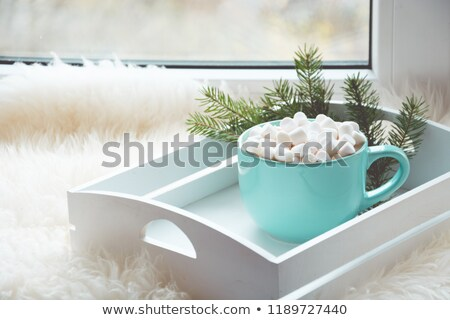 Cup of coffee with marshmallow on windowsill, cozy home concept Stock photo © artsvitlyna