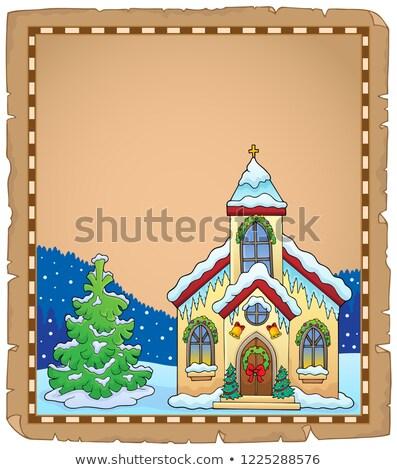 Navidad edificio de la iglesia pergamino edificio cruz arte Foto stock © clairev