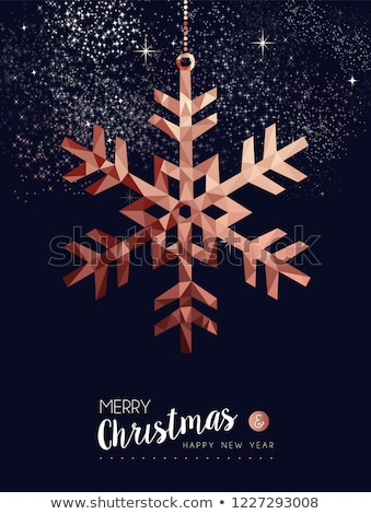 Christmas and New Year copper low poly card Stock photo © cienpies
