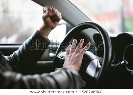 mad · bestuurder · auto · gezicht · man · grappig - stockfoto © vladacanon