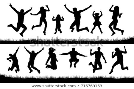 teenager jumping on a trampoline vector isolated illustration stock photo © pikepicture