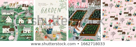 Greenhouse Hothouse and Trees Vector Illustration Stock photo © robuart