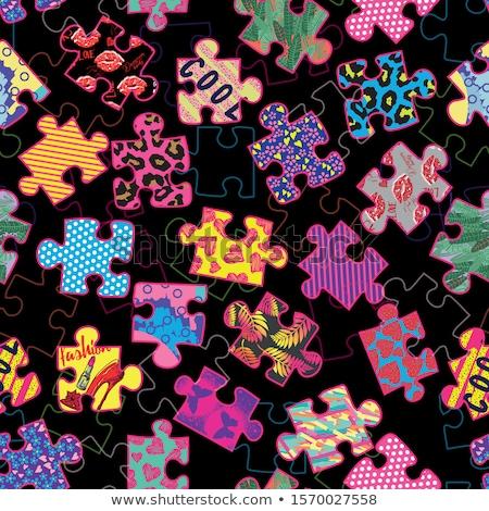 colorido · rompecabezas · sin · costura · independiente · piezas · ilustración - foto stock © ratkom
