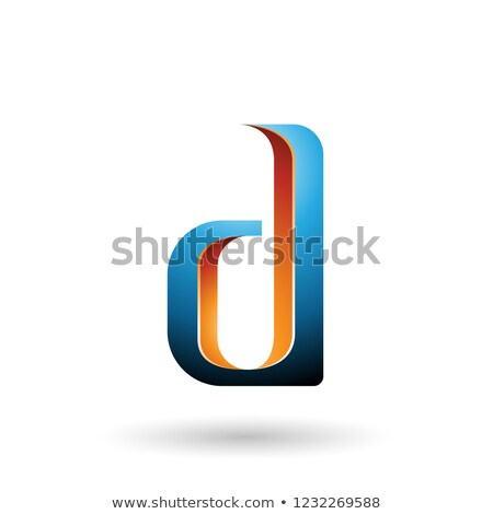 Stock photo: Orange and Blue Shaded Letter D Vector Illustration