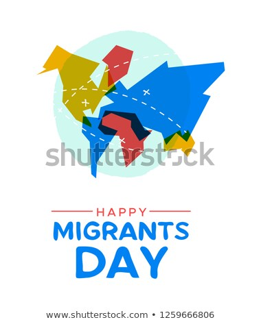 Photo stock: Migrant Day World Map Card For Immigration Concept