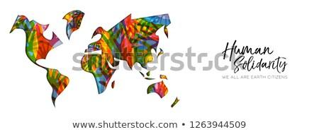 humanismo · solidariedade · dia · diverso · mapa · do · mundo · mão - foto stock © cienpies