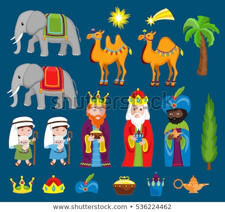 Three kings with camels and gifts set Stock photo © Imaagio