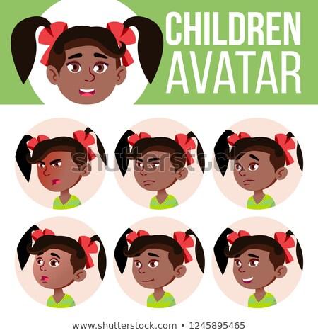 Kız avatar ayarlamak çocuk vektör anaokulu Stok fotoğraf © pikepicture