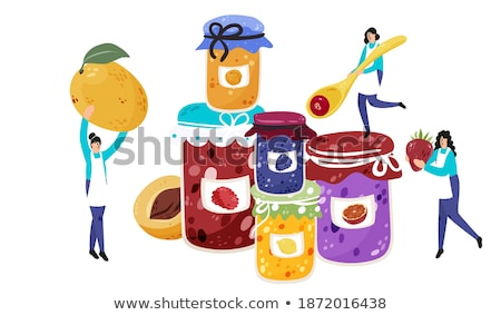 Canned Blueberries and Raspberries in Jars Banners Stock photo © robuart